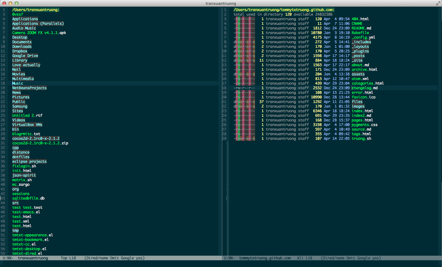 Dired mode in my Emacs